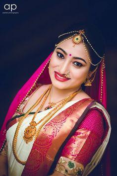 Gold Silk Saree, Wedding Silk Saree, White Saree, Bridal Sarees, Bridal Dresses, South Indian Bride Jewellery, Indian Bridal Photos, Hand Work Blouse Design, Wedding Couple Poses Photography