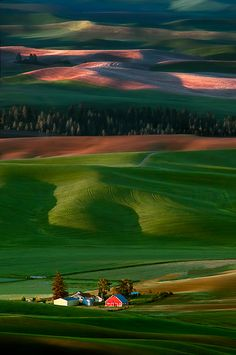 I have some contacts who live there in the Palouse Hills. The red barn, Palouse Hills, USA -- by Doug Solis Beautiful World, Beautiful Places, Beautiful Pictures, Gorgeous Gorgeous, Beautiful Farm, Natur Wallpaper, Wallpaper Art, Landscape Photography, Nature Photography