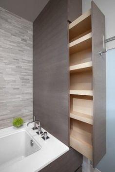 Super smart storage idea // Keeps clutter hidden which helps make bathroom seem larger