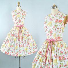 Vintage 50s Carol Brent Dress / 1950s White Cotton Green Pink