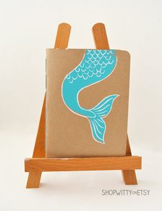 Mermaid Notebook with Handcrafted Paper  Mermaid by ShopWitty