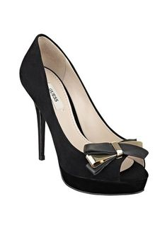 Black Platform Pumps with Bow at Guess