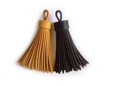 Leather Knacks - Leather Tassel Keychain, Tassel Bag Charm, Funky Big Accessorie, Tassel Key Ring, Gift, Black-Brown, Camel, Handmade
