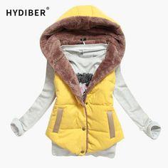 M-XXXL 2017 New Brand Spring Autumn Slim Velvet Women Vest Jacket Warm Cotton Hooded Winter Plus Size Waistcoat female