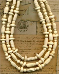 "White Horn African Trade Beads Rondells Tubes Rounds  3 Strands 17""  4-13mm"
