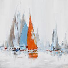 schilderij boten 70x70   Schilderijenshop
