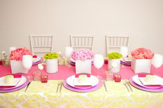 Green and Pink Theme Table Decor designed by Twenty Three Layers ( TTL Events). twentythreelayers.com