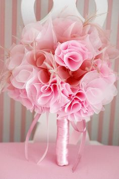 Pink fabric bouquet--you can practically DIY this one with a hot glue gun, fabric, tulle and ribbon!!