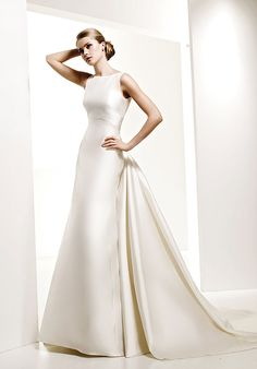 A-Line Bateau Floor Length Attached Mikado Wedding Dress Style C