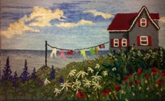 "Celia Charlton, Nova Scotia, ""Bouctouche Summer"", 19 x 32 new and recycled wool flannel, wool yarns hooked on linen cuts original design Rug Hooking Designs, Rug Hooking Patterns, Traditional Landscape, Traditional Rugs, Hook Punch, Landscape Arquitecture, Rug Inspiration, Hand Hooked Rugs, Types Of Rugs"