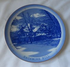 SAGAMORE HILL COLLECTIBLE PLATE BLUE GOLD JAPAN OYSTER BAY NY THEODORE ROOSEVELT