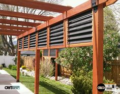 Unique Pergola Barrier Screen all wrapped into a clean and modern use of the Ornamental Wood Ties (OWT) Post to Beams and 6x6 Posts Bases from OZCO. WK-2 2016 Finalist