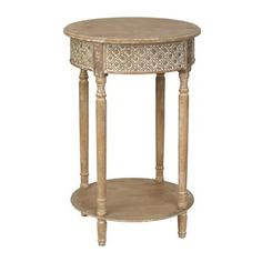 Distressed Natural Round Accent Table | Kirklands