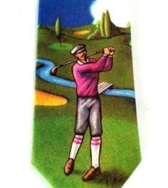 Golf Course Tie Old Fashion Golfer Knickers Golfing Cap Blue Classic Mens Necktie