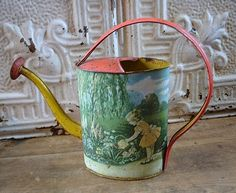 Vintage Chein Tin Lithographed Toy Watering Can on Ruby Lane $48.00
