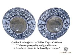 "Golden Rutile Quartz + White Topaz Sterling Silver Cufflinks, Black Rhodium plated, Royal Model ""Enhance prosperity and good fortune + Reinforce charm to be loved by everyone"" *** Combine 2 Gemstone Powers to double your LUCK ***"