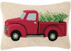 """Vintage Red Truck & Tree - 12"""" x 18"""" Wool Hooked Pillow"""