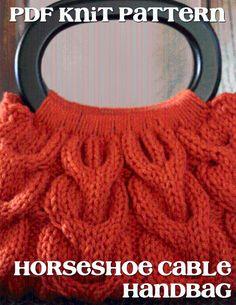 Horseshoe Cable Knit Handbag