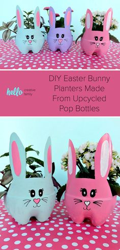 These DIY Easter Bunny Planters are made using recycled pop bottles! Bright and colorful they are a fun craft for a table centerpiece, front porch or handmade gift! bottle crafts DIY Easter Bunny Planters Made From Upcycled Pop Bottles Easter Crafts For Kids, Crafts To Do, Preschool Crafts, Diy For Kids, Paper Crafts, Easter Games, Easy Crafts, Easy Diy, Kids Garden Crafts