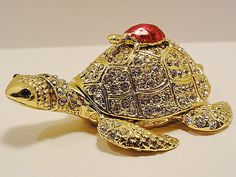 Gold Turtle Trinket Box Gold Base Metal Enamel And Crystals #5984