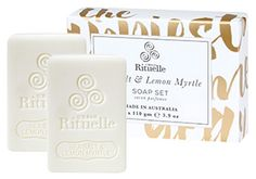 Urban Rituelle - Summer Holiday - Sea Salt & Lemon Myrtle - Soap Set. Bring comfort & joy into your space with this delightful holiday gift set containing 2 Cocoa Butter Vegetable Soaps. Each bar is bursting with the scent of sea salt, sunshine & the zest of the Australian bush. Packed with natural vegetable oils, organic Cocoa Butter & Vitamin E for a luscious, creamy lather, this gentle formulation will leave your skin hydrated, protected & naturally fragranced.