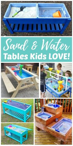 Sand and Water Tables Kids LOVE! Every backyard should have at least one outdoor play space for kids. Sand and water tables are a great way for kids to have fun while staying cool in the backyard. Kids Outdoor Play, Outdoor Play Spaces, Backyard For Kids, Diy Garden Ideas For Kids, Kids Outdoor Table, Backyard Playground, Diy Projects For Kids, Indoor Play, Backyard Projects