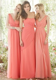 Love the idea of variations of the same long dress. would love in different shades or compatible color scheme.