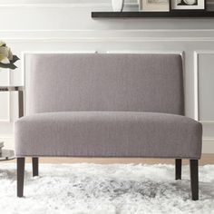 INSPIRE Q Wicker Gray Linen Armless Accent Loveseat. Want For Formal Dining  Room