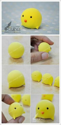 Imp light clay crafts class - small pets cuckoo production steps: 1. The first use of a light yellow with white clay, mix well beige, shape ...