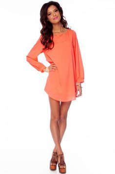 That Shift Cray Dress in Neon Coral :: tobi
