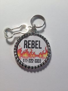 PERSONALIZED DOG ID tag, Flames tag..., phone number and pet name, fun affordable, cute dog quote, male or female dog tag on Etsy, $5.95
