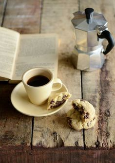 French Press coffee with the cookies. I have a giant French press and coffee already. Check!