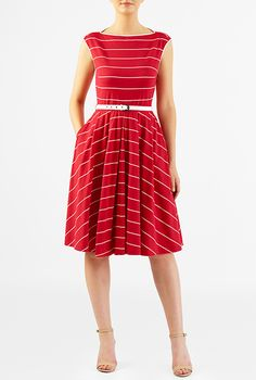 I <3 this Stripe cotton jersey knit belted dress from eShakti