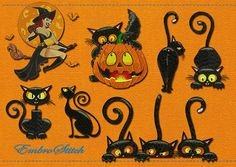 Embroidery designs pack Halloween Cat #2 (collection of 10) for embroidery machines - EmbroStitch - DST, PES, HUS, JEF, VIP, XXX, VP3, EXP