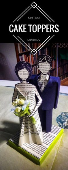 Custom Paper Wedding Cake Toppers by Marielle JL