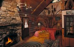 Image of Appealing Branson Mo Table Rock Lake Cabins with Vintage Bedroom Furniture Including Wood Bench Storage Below Single Deer Antler for Unique Fruit Trays also Log Cabin Fireplaces