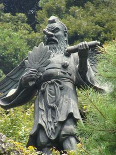 Tengu, a mountain nymph of sorts, who likes to tempt Buddhist priests into breaking their vows and to teach devoted Shinto warriors to become masters of the sword
