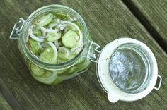 Refrigerator Pickles.    My housemates keep these in our free fridge. Easy and pickles on hand, whenever!