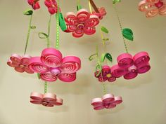 Baby Mobile - Custom Mobile - Pink Mobile - Unique Mobile - Quilled Flower Rain…