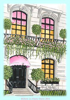 NYC Townhouse by Illustrator Sandy M for Ooh La Frou Frou City Girls blog http://oohlafroufrou.blogspot.com #Art #Illustration