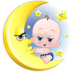 Baby Newborn on the Moon-Vector © bluedarkat