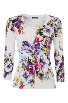 Give your wardrobe a breath of fresh air with this floral cardigan; fully encapsulating a spring-summer vibe. The pink and purple tones are offset fantastically against the ivory white. With pretty button detailing running down the centre, this feminine cardigan can be worn casually or as evening wear.