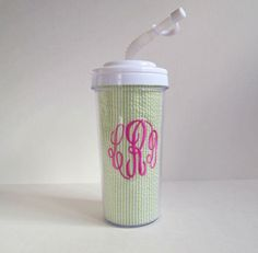 Monogrammed Tumbler with Lid and Straw. $20.00, via Etsy.