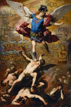 Du street art dans des classiques de la peinture par Marco Battaglini   marco battaglini mash up street art dans des classiques de la peinture renaissance pop culture 1