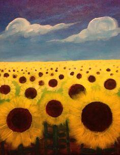 Sunflowers Under a Blue Sky