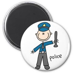 Police Officer Stick Figure Magnet Fridge Magnets