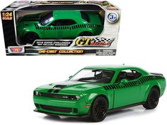 """PRODUCT DESCRIPTION Brand new 1/24 scale diecast car model of 2018 Dodge Challenger SRT Hellcat Widebody Green with Black Stripes """"GT Racing"""" Series die cast model car by Motormax. Brand new box. Real rubber tires. Has opening doors. Detailed interior, exterior. Officially licensed product. Made of diecast with some plastic parts. Dimensions approximately L-8, W-3.5, H-2.5 inches. Please note that manufacturer may change packing box at any time. Product will stay exactly the same. Dodge Challenger Srt Hellcat, Rubber Tires, Diecast Model Cars, Car Brands, Black Stripes, Racing, Note, Product Description, Products"""