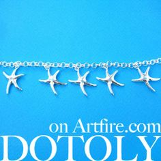 Starfish Star Shaped Sea Animal Charm Chain Linked Bracelet in Silver $10 #starfish #animals #jewelry #bracelet #cute