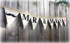 Mr and Mrs Lips and Mustache Wedding Banner  by ImSeriouslyJoking