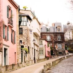 Paris Photography Street in Montmartre, France Travel Photograph,... ($31) ❤ liked on Polyvore featuring home, home decor, wall art, backgrounds, french home decor, photography wall art, french wall art, pink wall art and parisian wall art